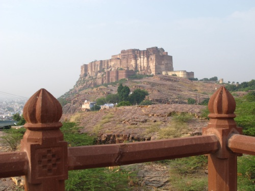 The Fort, perched atop a hill, enclosed by the Blue City of Johdpur.