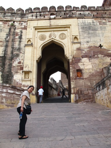 My friend Emy on uphill climb towards one of the formidable Gates.